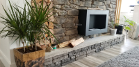 Stone Wood Concrete Accent Wall